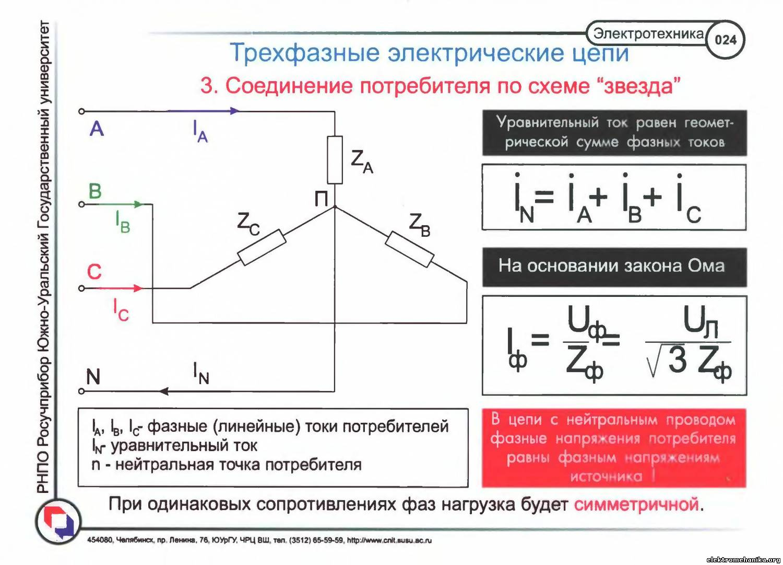 В трехфазной цепи при соединении по схеме звезда с нейтральным проводом