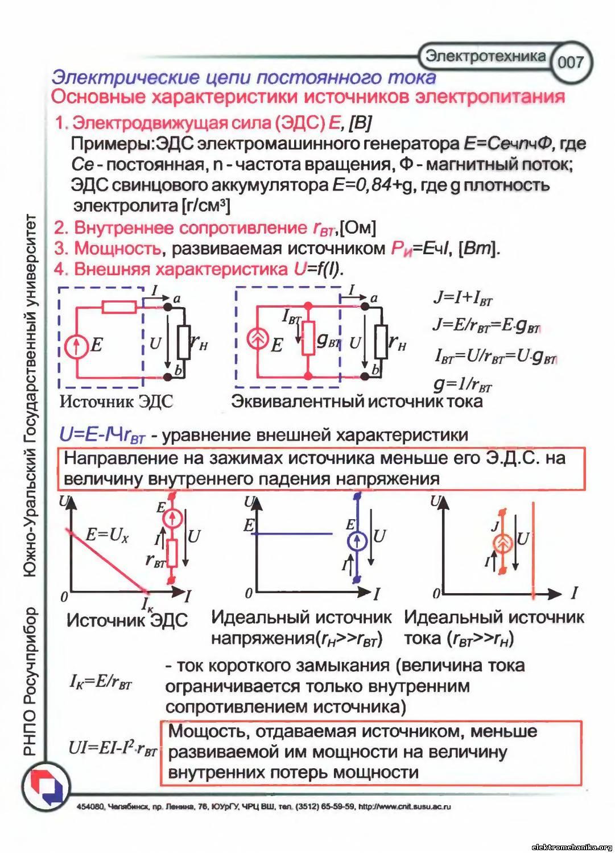 Эквивалентные схемы источника эдс и источника тока