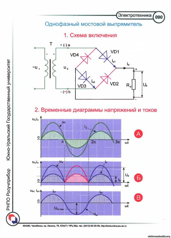10 Однофазная мостовая схема выпрямления расчет