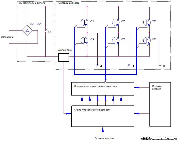 Простая схема управления трехфазным инвертором